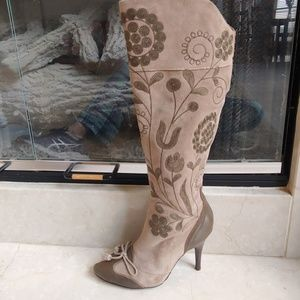 Sam Edelman l Floral Olive Suede Tall Boots